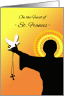 Feast of St. Francis, Silhouette with Dove and Cross card