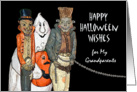 Halloween Wishes for Grandparents, Vampire, Ghost, Chained Monster card