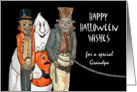 Halloween Wishes for Grandpa, Vampire, Ghost, Chained Monster card