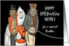 Halloween Wishes for Brother, Vampire, Ghost, Chained Monster card