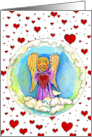 Valentine, Cat Angel Surrounded by Hearts, Illustration card