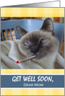 Get Well Soon for Mom, Cat with Temperature, Wrapped in Blanket card