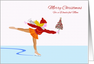 Merry Christmas for Mom, Ice Skater With Tree card