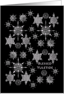 Blessed Yuletide, Sea Creature Snowflakes on Black card