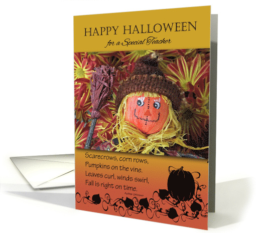 Halloween for Teacher, Scarecrow and Fall Poem card (1014101)