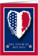 Military Wedding Invitation for Best Man, Patriotic Heart card