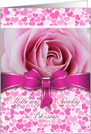 Mothering Sunday, Rose Colored Hearts, Ribbon and Rose card