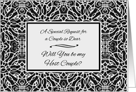 Invitation for Host Couple, Elegant Art Nouveau Design card