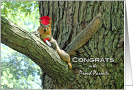 Congratulations to Parents of Graduate, Squirrel With Cap & Diploma card