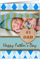 Father's Day for #1 Dad, Add Your Photo, Argyle Pattern card