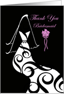 Wedding, Bridesmaid Thank You, Contemporary Gown & Veil card