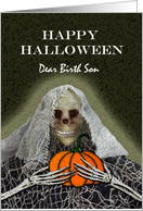 Halloween for Birth Son, Skeleton Ghoul With a Pumpkin card