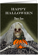 Halloween Greetings for Son, Skeleton Ghoul With a Pumpkin card