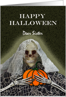 Halloween Greetings for Sister, Skeleton Ghoul With a Pumpkin card