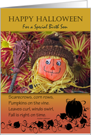 Halloween for Birth Son, Folk Art Scarecrow and Fall Poem card