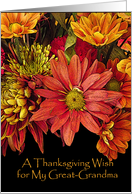 Thanksgiving Wish for Great-Grandma, Autumn Flowers card