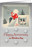 Anniversary on Christmas Day with Vintage Santa and Fox Terriers card