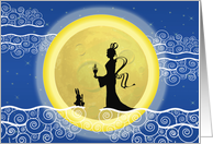 Chinese Mid-Autumn Festival, Chang'e Moon Goddess & Jade Rabbit card
