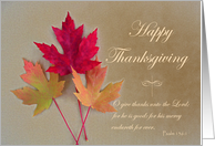 Thanksgiving Scripture, Maple Leaves with Psalm 136:1 card