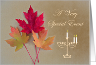 Thanksgivukkah Party Invitation, Autumn Leaves and Menorah card