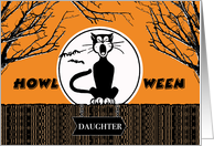 Funny Halloween for Daughter, Yawning Howling Cat card