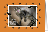 Halloween for Son, Howling Cat Showing Teeth card