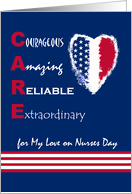 CARE, Nurses Day for Partner, Patriotic Heart With Stars & Stripes card