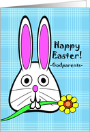 Easter for Godparents, Bunny with Flower, Blue Plaid Background card