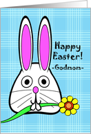 Easter for Godmom, Bunny with Flower, Blue Plaid Background card