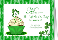 St. Patrick's Day for Granddaughter with Cupcake and Shamrocks card