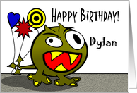 Dylan - Birthday Monster with Balloons, Name Specific card
