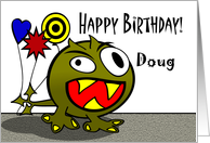 Doug - Birthday Monster with Balloons, Name Specific card
