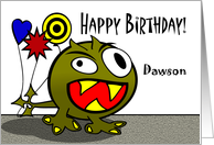 Dawson - Birthday Monster with Balloons, Name Specific card
