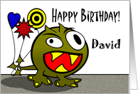 David - Birthday Monster with Balloons, Name Specific card