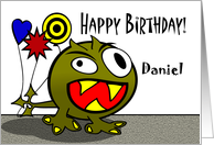 Daniel - Birthday Monster with Balloons, Name Specific card
