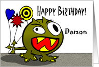 Damon - Birthday Monster with Balloons, Name Specific card