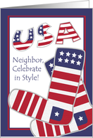 Labor Day for Neighbor, Stars & Stripes, Stylish Patriotic Socks card
