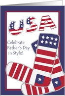 Patriotic Father's Day for Both of My Dads, American Flag Socks card