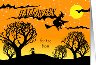 Halloween for Boss, Silhouette of Cats, Witch, and Woods card