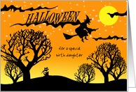 Halloween for Birth Daughter, Custom Text with Cat, Witch, and Woods card