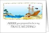 Be in My Wedding Invitation, Pirate Theme Illustration card