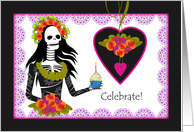 Gothic Birthday, Skeleton with Cupcake and Flower Bouquet card
