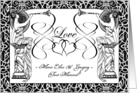 Custom Wedding, Just Married Announcement, Add Your Text, Art Nouveau card