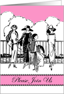 Invitation for a Cancer Hat Party, Vintage Fashion Illustration, Pink card