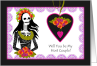 Host Couple, Wedding Attendant Invitation, Dia de los Muertos card