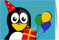 Happy Birthday in Icelandic, Penguin Party Animal card