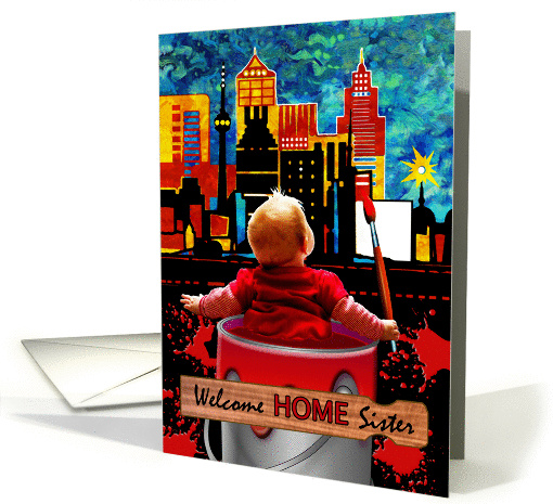 Welcome Home Sister, Child Painting the Town Red, Skyscrapers card