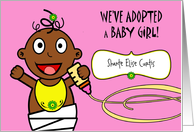 Baby Girl Adoption Announcement, Custom Front, African American card