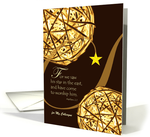 Custom Christmas for Colleague, Matthew 2:2, Illuminated Spheres card