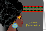 Joyous Kwanzukkah, African American with Star of David Earring card